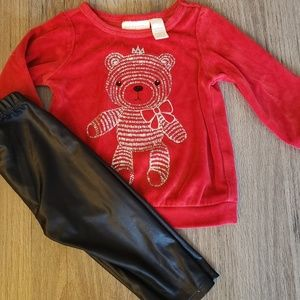 Fleece sweater with Sparkly Bear & Pleather Pants